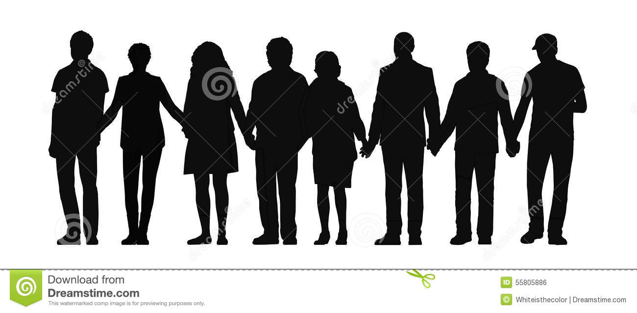 Group Holding Hands Silhouette.