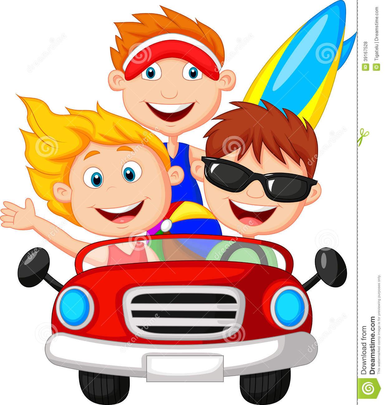 Cartoon Young Man And Woman Having Fun Driving Car Stock.