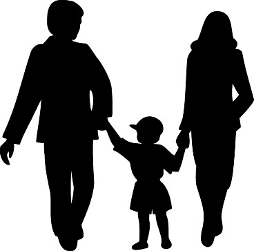 Family Clipart Black And White 3 People.