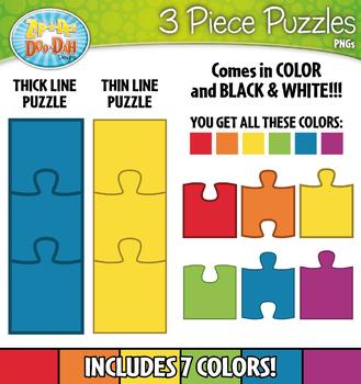 3 Piece Puzzles Clipart {Zip.
