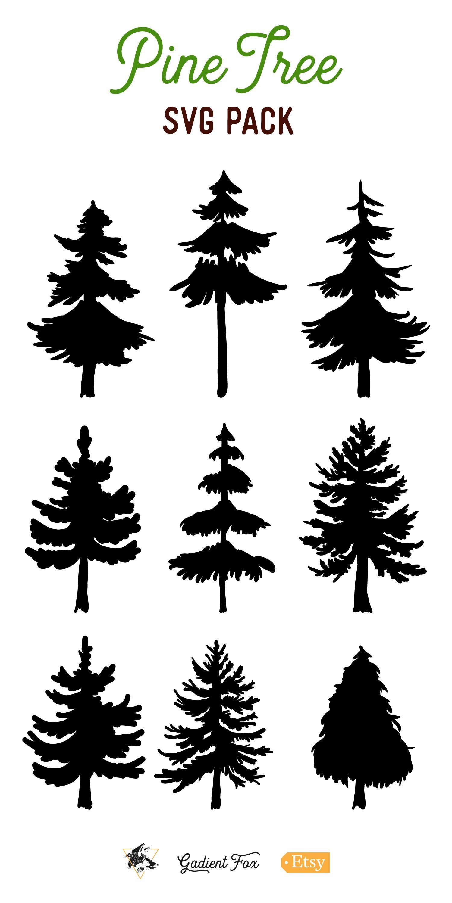 9 Vector Pine Tree Silhouette Illustrations.