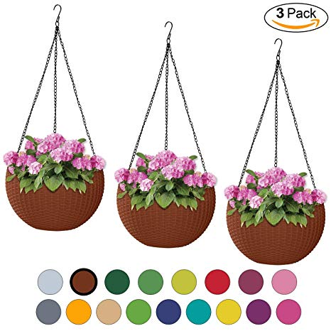 ALMI Hanna Hanging Planter 11 Inch [3 Pack] Round Plastic Decor Garden  Resin Flower Pot Chain Basket for Plant, Planters for Plants, for Indoor  and.