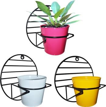 ascent homes Ascent Homes Wall Mount Metal Planter Stand with Round  Galvanized Pot (Set of 3 Pcs) Plant Container Set.