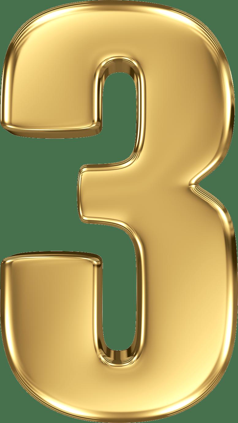 Gold Number 3 transparent PNG.