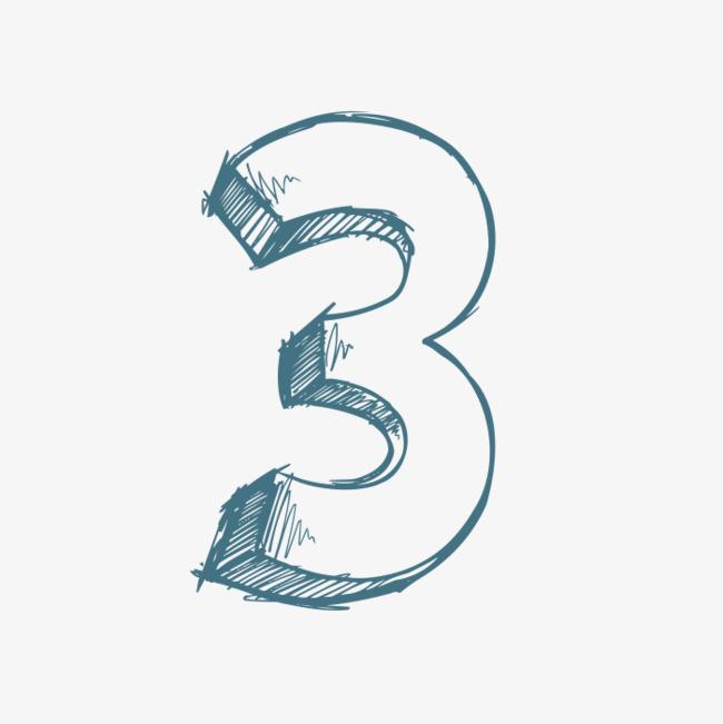 Blue Number 3, Number Clipart, Number, Hand PNG Transparent Image.