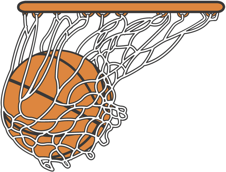 Basketball Going Through Net Clipart.