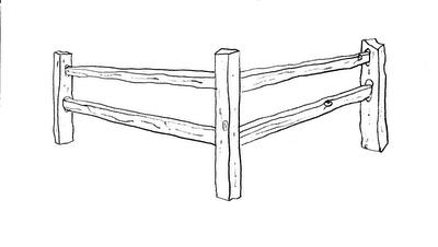 split rail fence sketch.