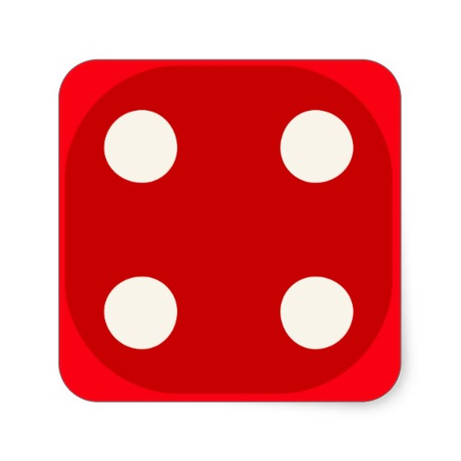 Red Dice Die Roll Four Square.