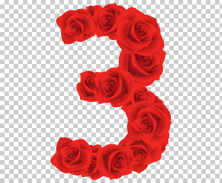 Red Roses Three Number, red rose 3 illustration PNG clipart.