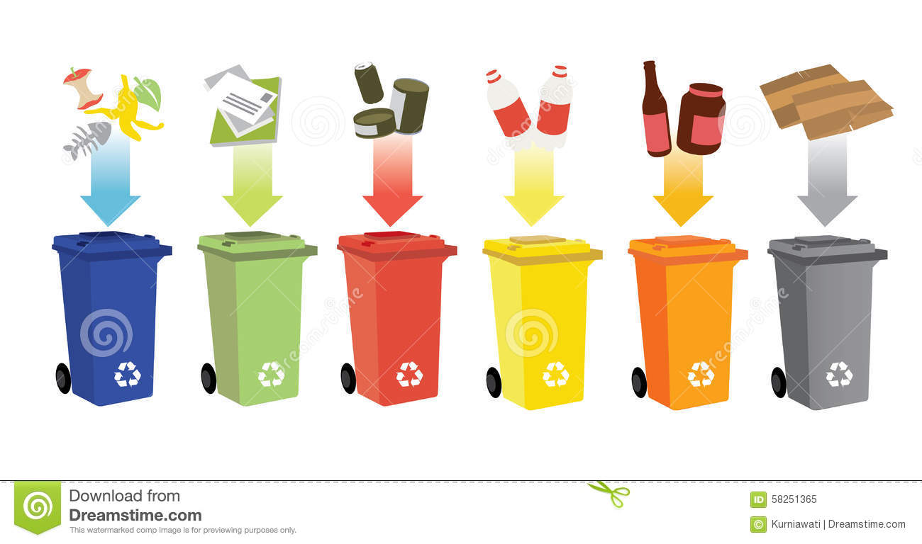 Recycling Bins And Waste Management Stock Vector.