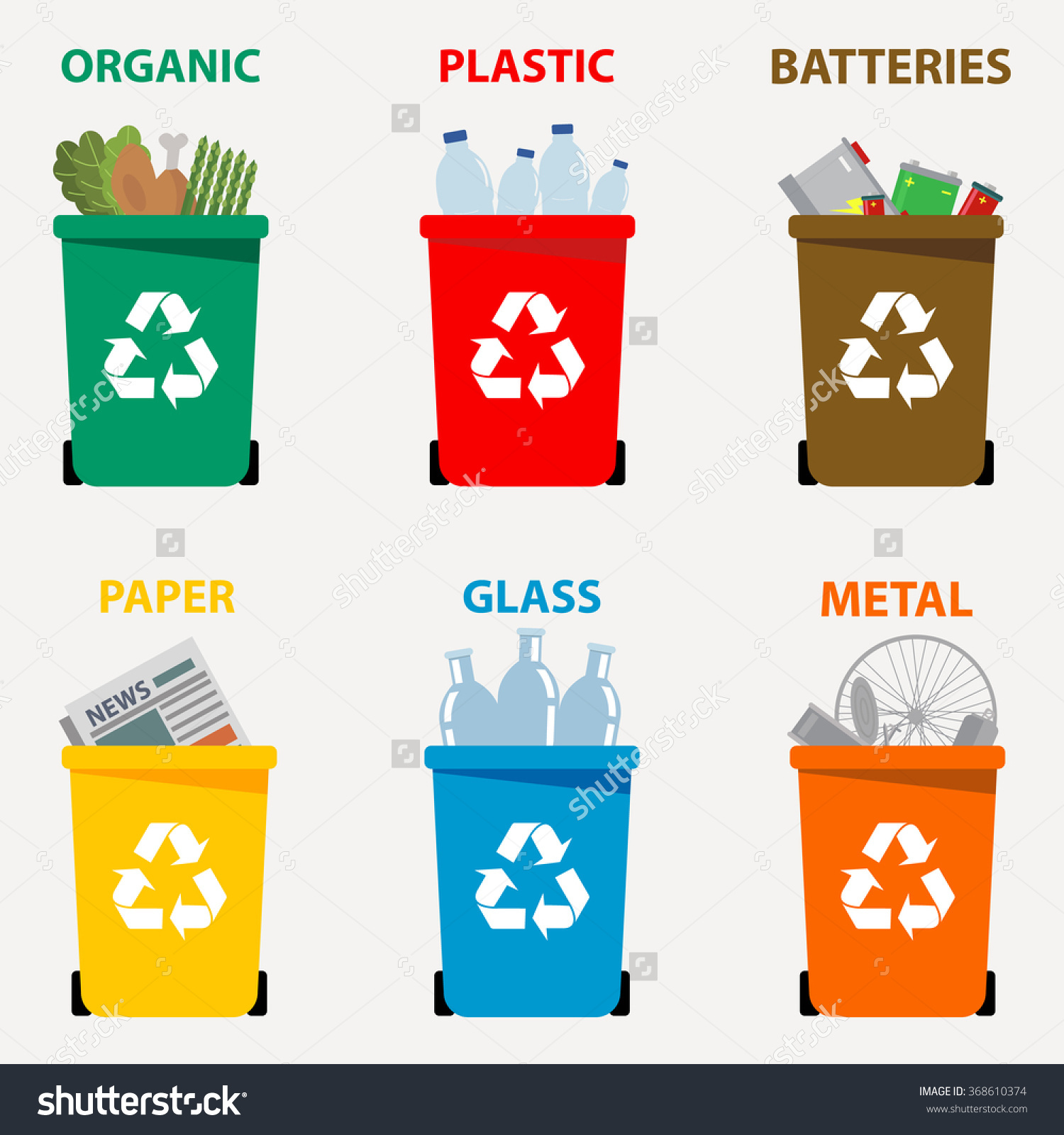 Different Colored Recycle Waste Bins Vector Stock Vector 368610374.