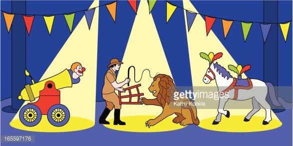 three ring circus Clipart Image.