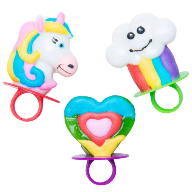Lot of 4 packs Rainbow Unicorn Ring Lollipops.