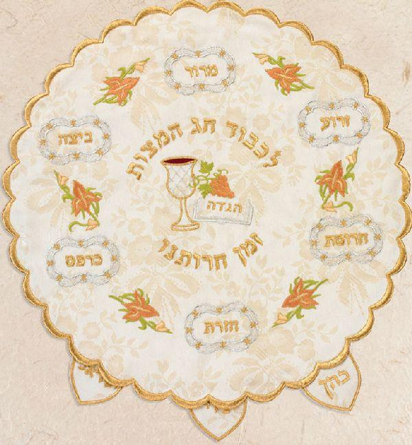 Colorful Seder Plate 3 Layer Matzah Cover..