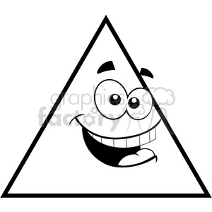 geometry triangle cartoon face silly math clip art graphics.