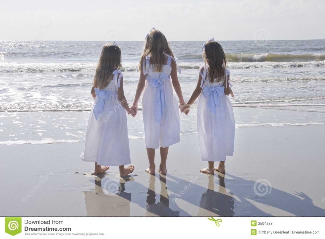 Three Sisters Holding Hands Royalty Free Stock Photos.