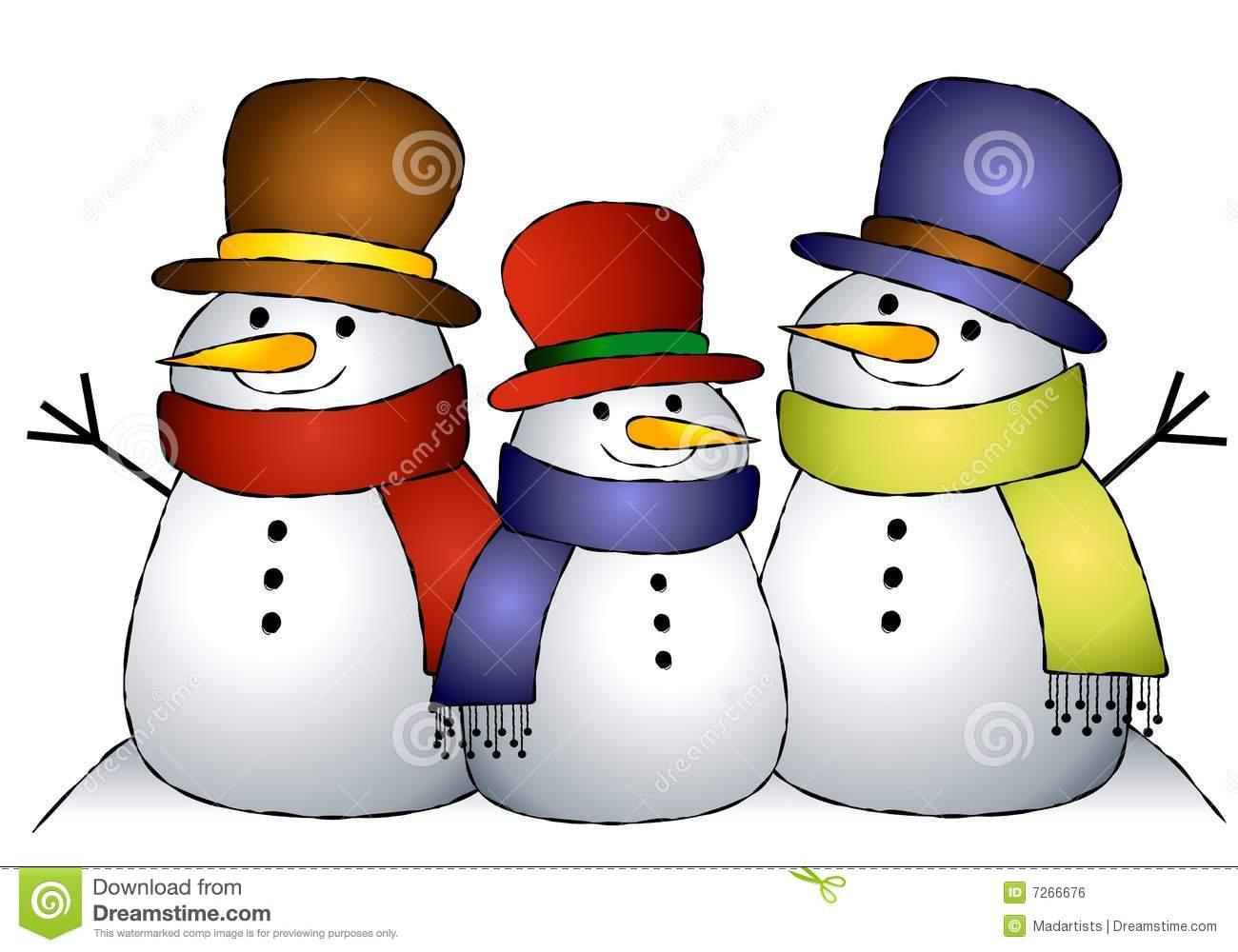 Group of 3 Snowmen stock illustration. Illustration of cartoon.
