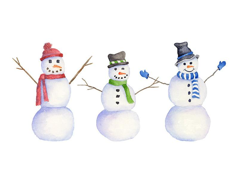 Watercolor Snowman Clipart, PNG Instant Download, Hand Painted Snowmen  Winter Clip Art, 3 Individual PNG Files.