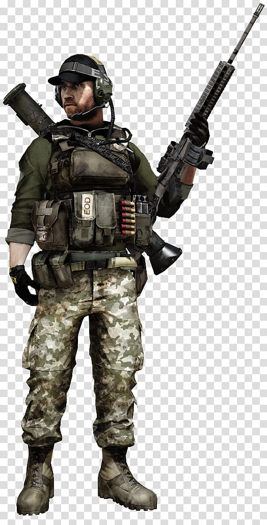 Battlefield Soldiers rendered, soldier character transparent.