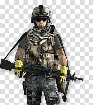 Battlefield Soldiers rendered, male soldier carrying rifle.