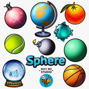 3D Shapes Clip Art: Spheres.