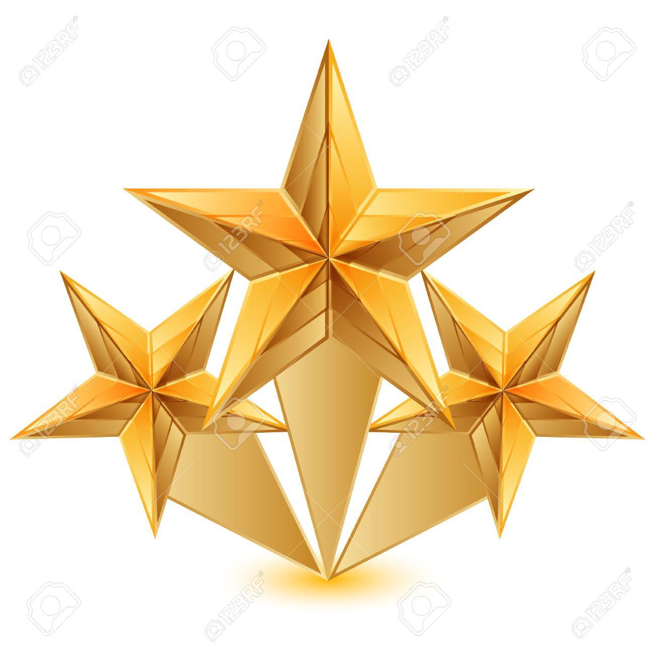 Vector illustration of 3 gold stars.