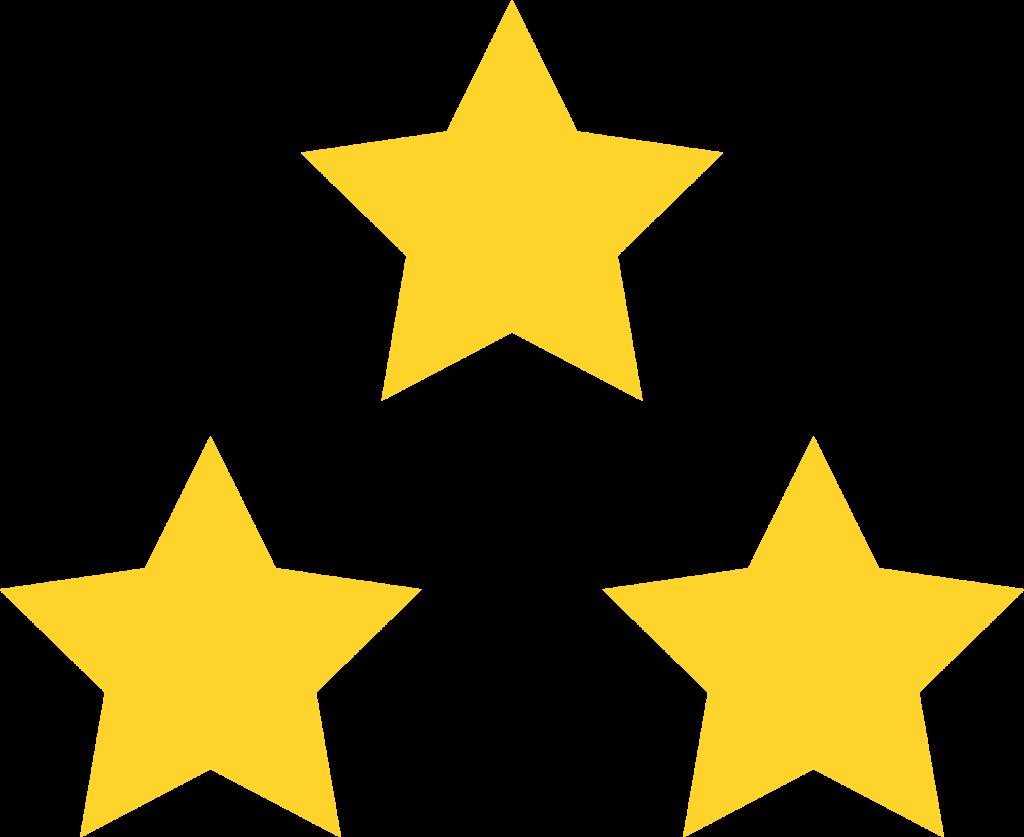 3 Star Triangle Outline Shape.