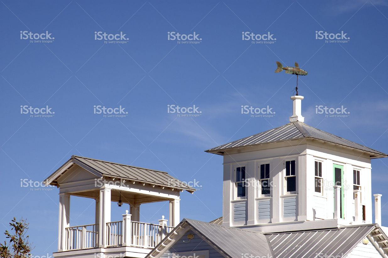 Beach house rooftop cupola and deck on tin roof house with.