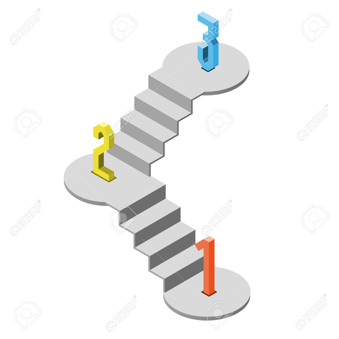 1 2 3 steps stair isometric view, infographic concept, vector...