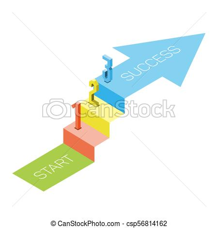 1 2 3 steps stair with arrow isometric view, infographic concept.