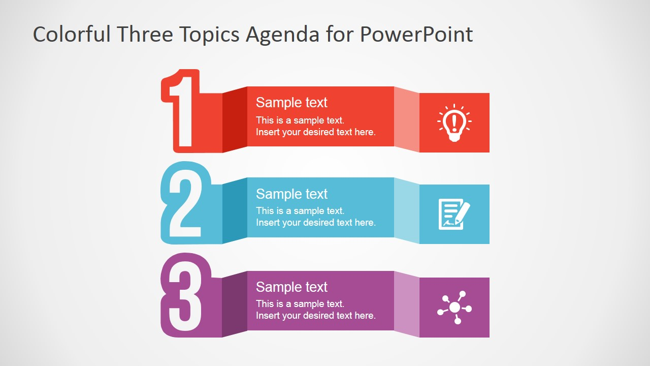 PowerPoint Template with Three Steps Clipart.