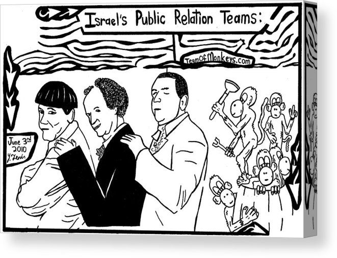 Israels Public Relation A Barrel Of Monkeys And The Three Stooges. By  Yonatan Frimer Canvas Print.