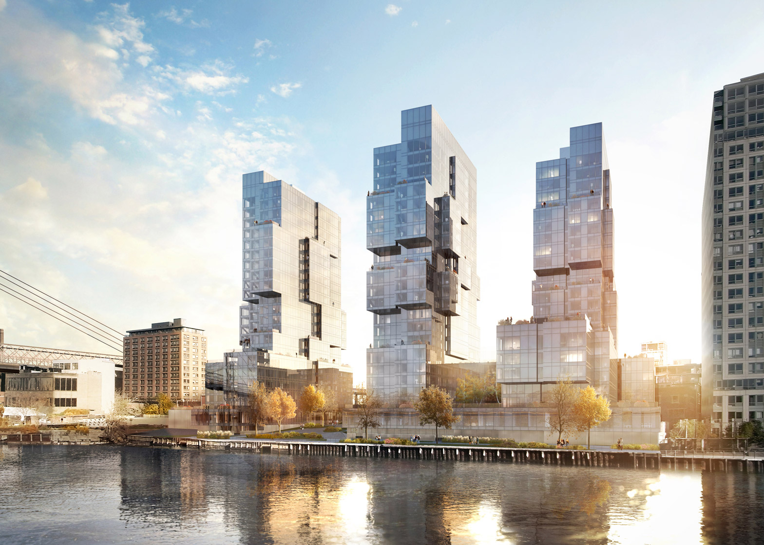 ODA designs trio of deconstructed boxy towers for Brooklyn.