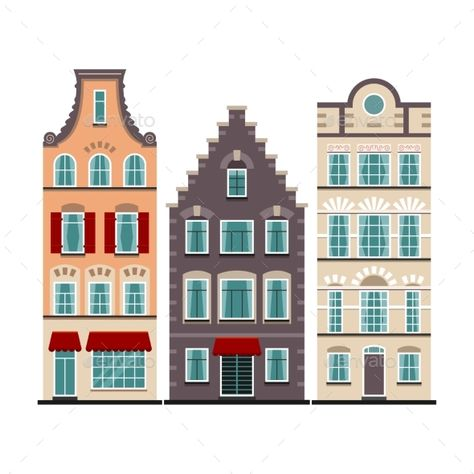 Set of 3 Amsterdam Old Houses Cartoon Facades.
