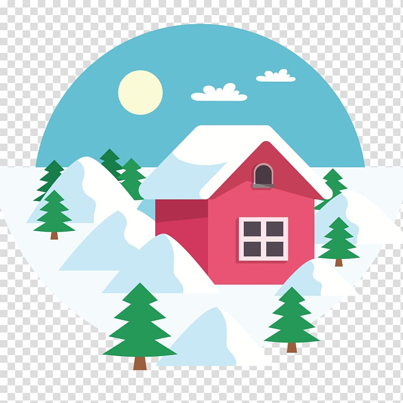 Daxue Winter , Winter red house transparent background PNG.