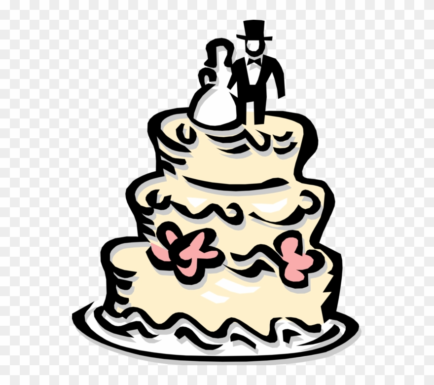 Vector Illustration Of Wedding Cake Traditional Cake Clipart.