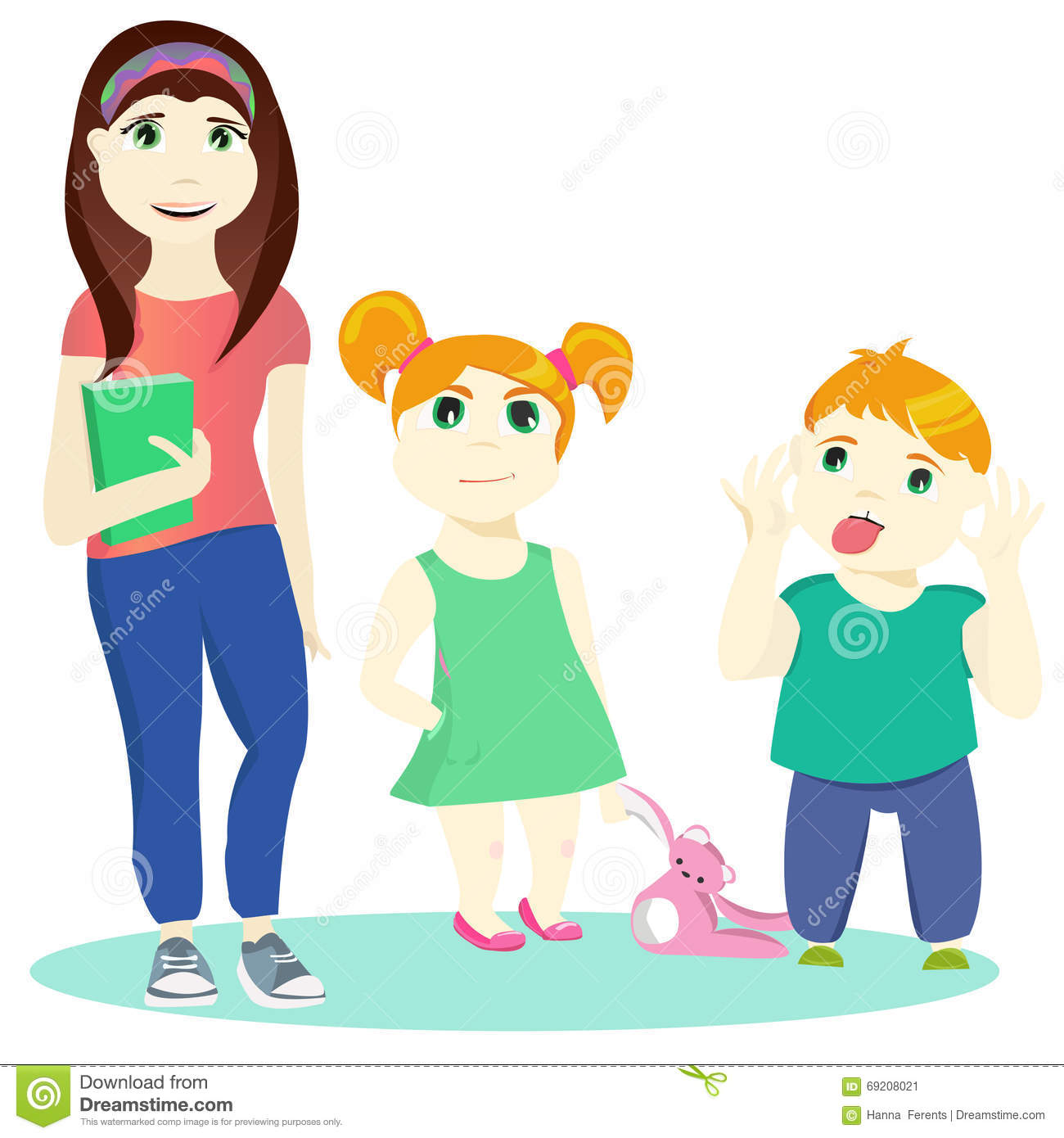 Two Sisters And A Brother Clipart.