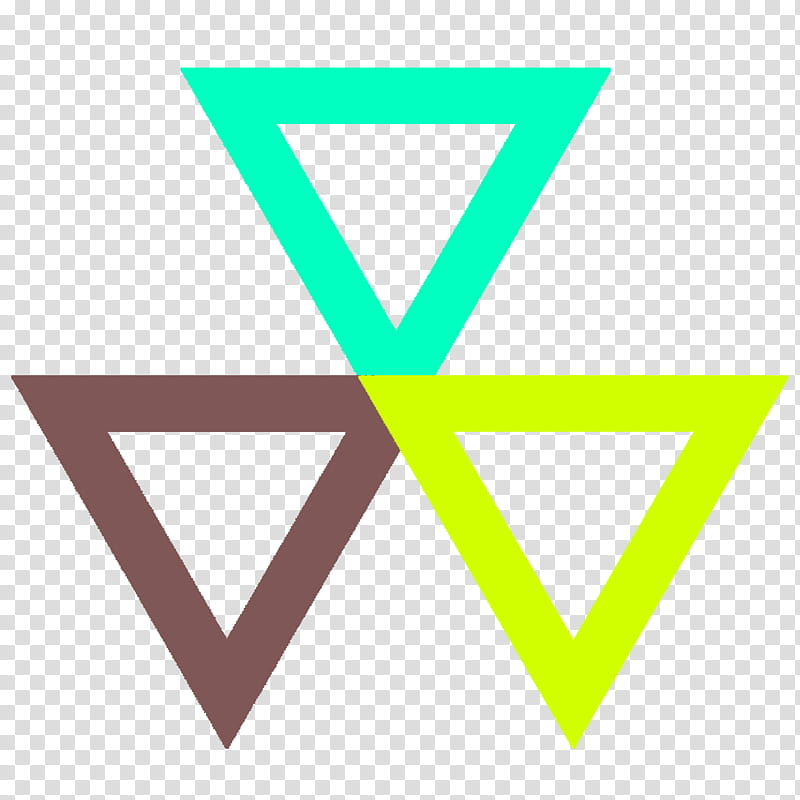 Geometric s, three brown, green, and yellow triangles.