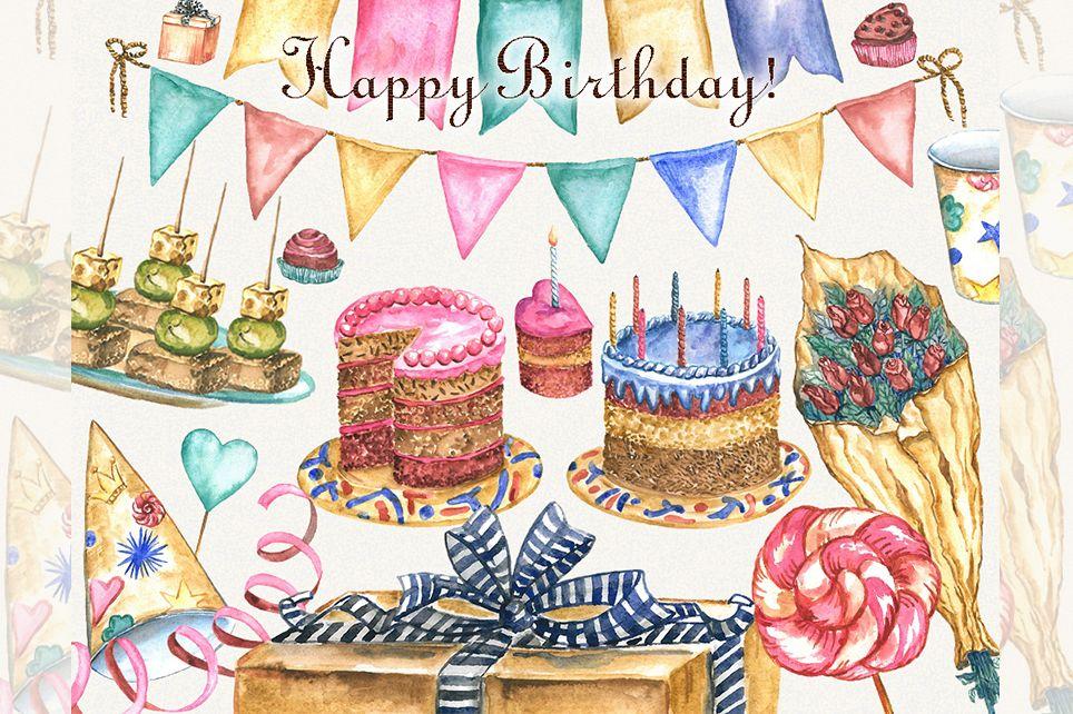 Birthday clipart, watercolor, happy birthday clipart.