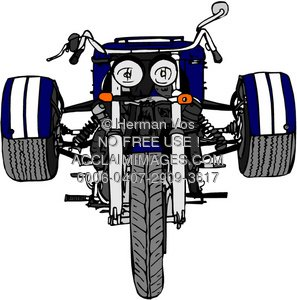 Clipart Image of a Three Wheel Motorcycle.