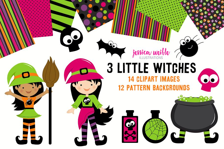 3 Little Witches Halloween Clipart Graphics Collection.