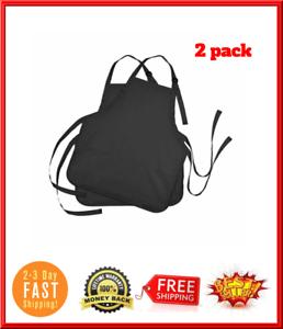 Details about Black Apron With 3 Pockets For Women Men Work Kitchen Chef  Cooking Bib Spun Neck.