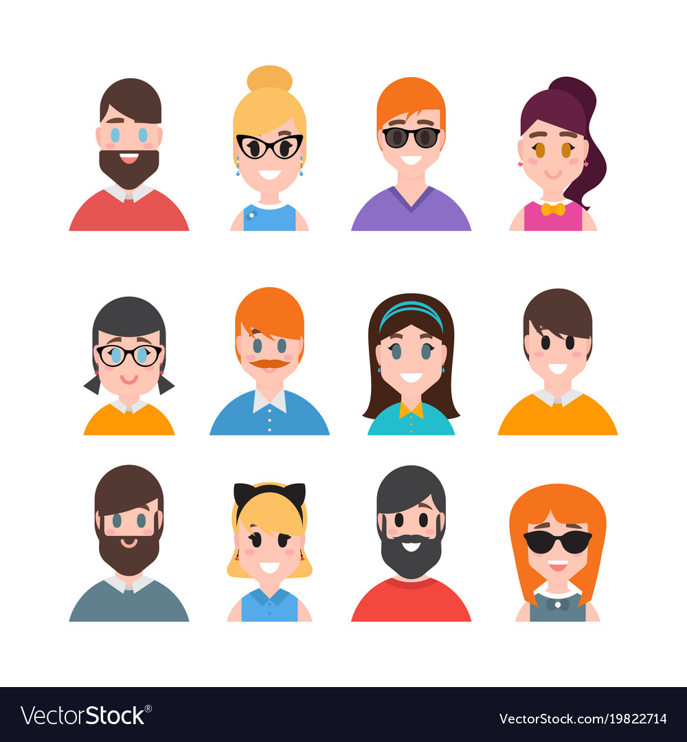 Male and female portraits people avatars.