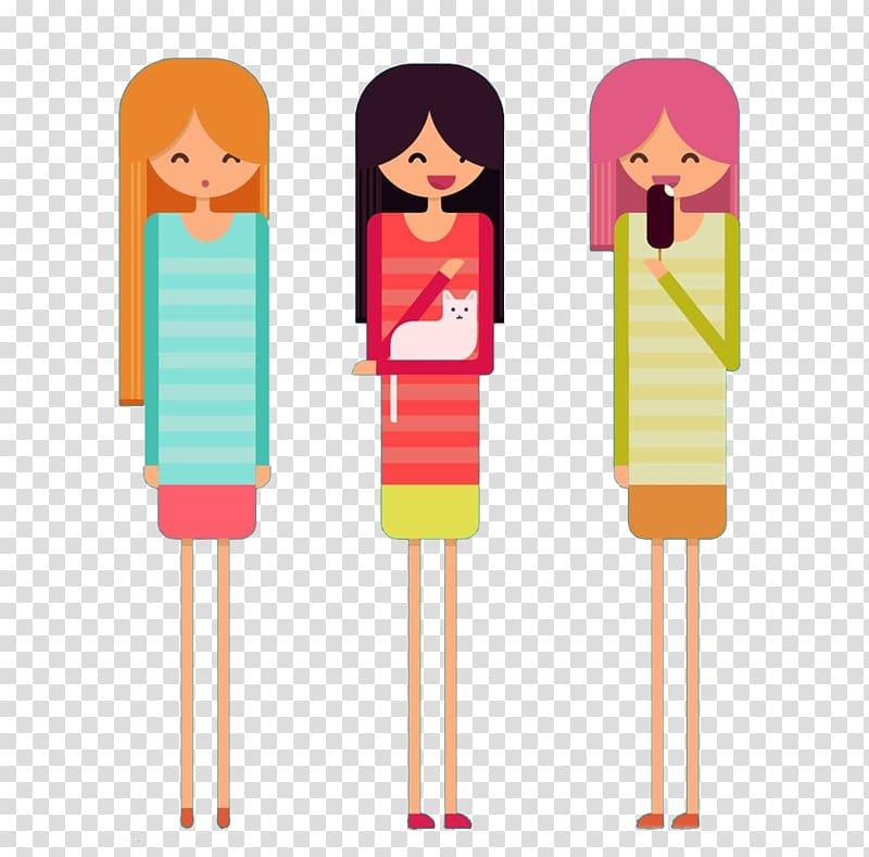 Cartoon Illustration, 3 beautiful women transparent.