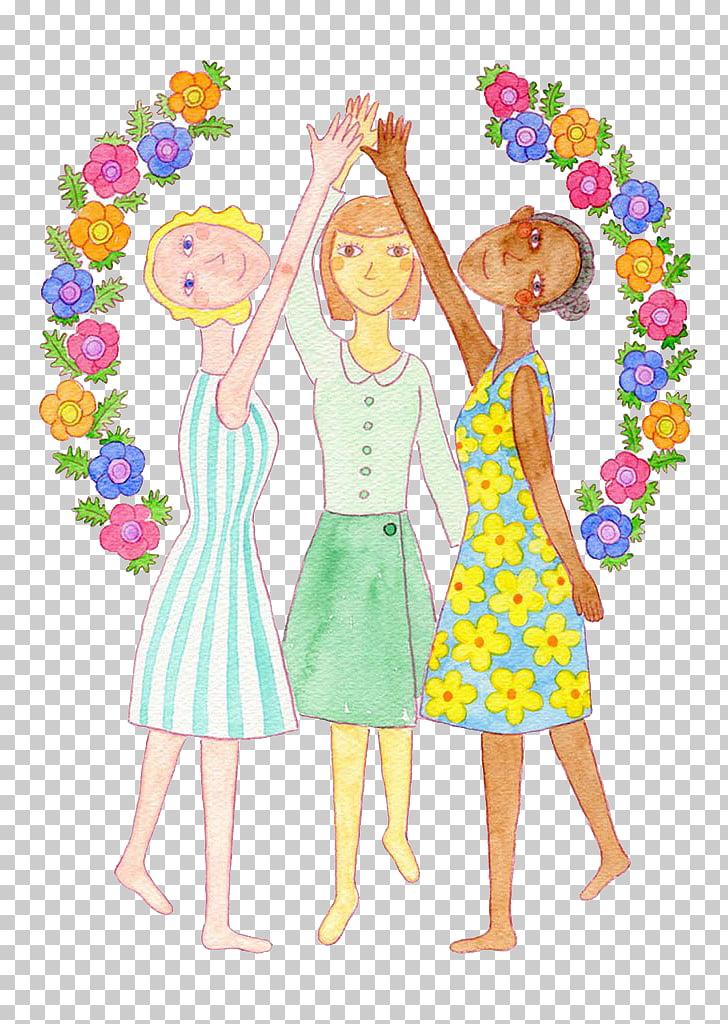 Watercolor painting Adobe Illustrator Illustration, 3 women.