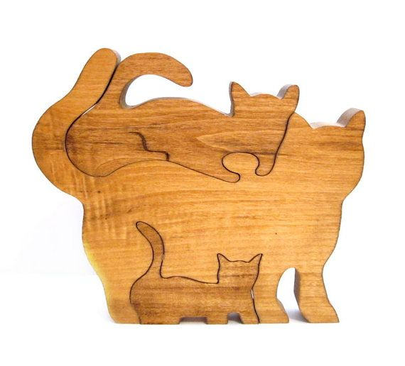 Vintage Wood Puzzle, Handmade Cat / Kitten Toy.