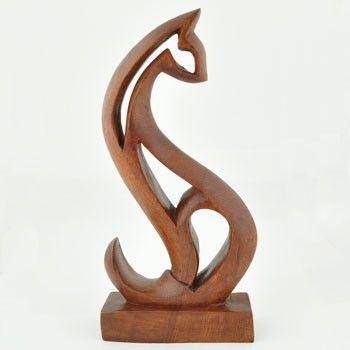 Wooden Abstract Cat Sculpture.