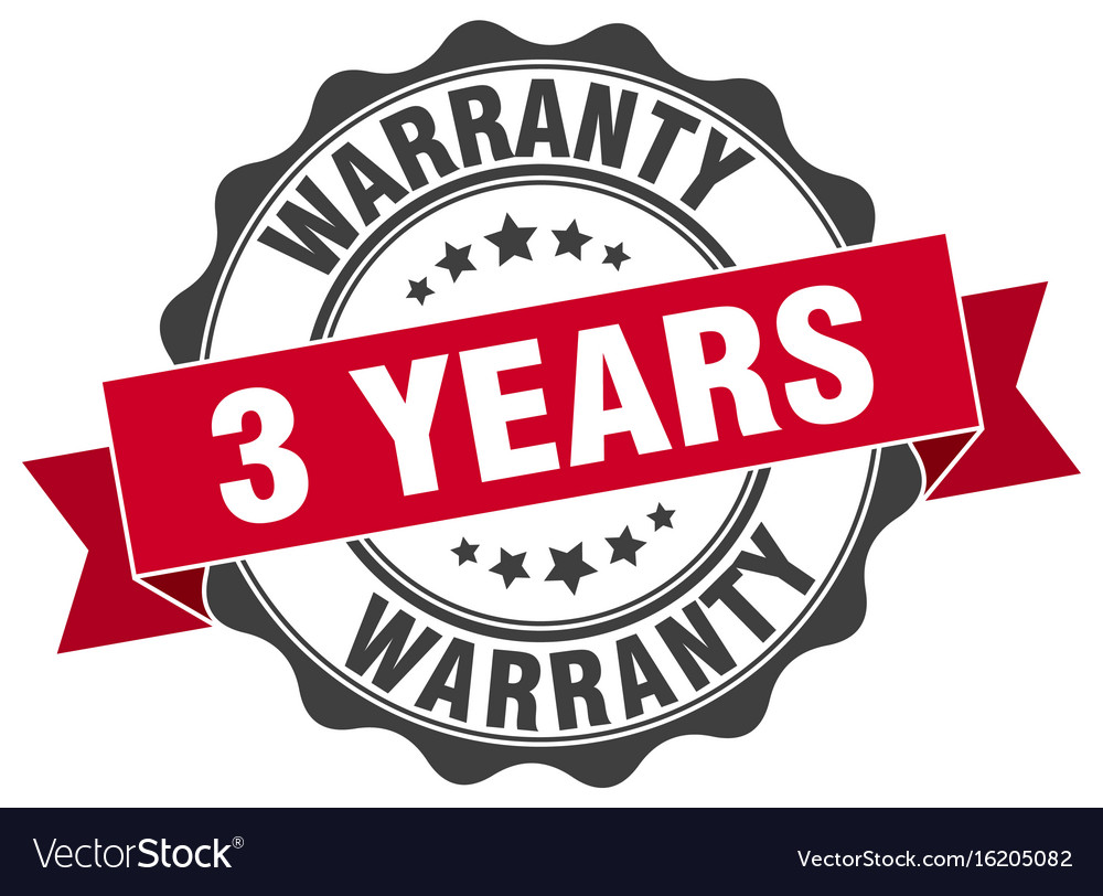 3 years warranty stamp sign seal.