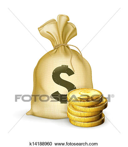 Moneybag and coins Clipart.