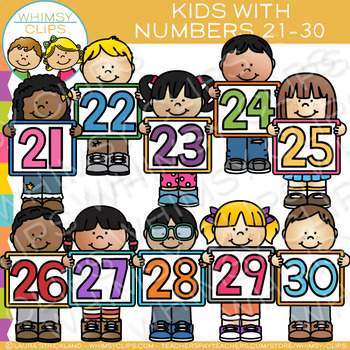 Kids with Numbers Clip Art: 21.